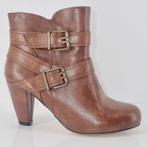 Madden Girl Boots Brown Short Double Buckle 10W